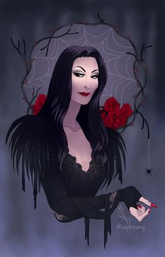 36 Ideas Tattoo Ideas Family Morticia Addams For 2019 Morticia Addams, Gomez And Morticia, Adams Family Morticia, Dark Fantasy, Fantasy Art, Die Addams Family, Addams Family Tattoo, Desenhos Halloween, Classic Monsters