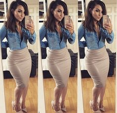 pencil skirt chambray shirt