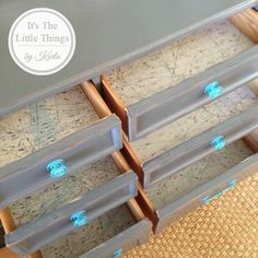 It's The Little Things at Poppy & Co. ~ Mid-century modern, 9 drawer dresser, with turquoise knobs and handles, and aeronautical maps as drawer liner...