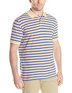 IZOD Mens Short Sleeve Coastal Prep Feeder Stripe Oxford Polo, Sunburst, Medium