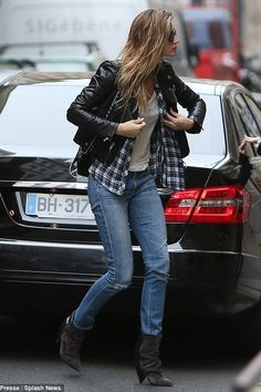 Gisele Bundchen wearing Chanel 2.55 Classic Flap Bag, Isabel Marant Audrey Suede and Leather Boots, Rails Hunter Button Down Shirt in White Blue and Ivy and Blk Dnm Moto Leather Jacket 1
