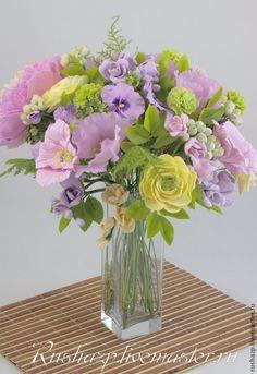 """Цветы из полимерной глины. Букет """"Возвращение весны-2"""" - разноцветный"""