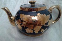 Vintage Gibson Gold Teapot Gold and Navy Porcelain Floral Gold