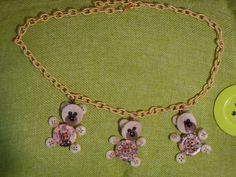 Collana 3 Orsetti Fioriti