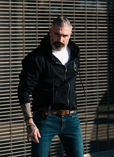 Our cotton fleece jacket is fitted, warm, & is an optimistic reminder when things get tough. and a subtle F you to those who reject us. Made in the USA SIZE & FIT True to Size Extended Sizes a Tall Men Fashion, Urban Fashion, Mens Fashion, Silver Fox Hair, Top Clothing Brands, Leather Men, Leather Jacket, Mens Fleece, Tall Guys