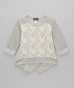 Grown-up charm meets playful style with this lovely embellished piece. Its sporty silhouette gets a ladylike look from a layer of lace and a trendy split back and hi-low hem. Baby Outfits, Little Girl Outfits, Kids Outfits, Tween Fashion, Baby Girl Fashion, Fashion Clothes, Tween Mode, Creation Couture, Kids Wear