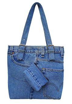 BDJ Oversize Blue Denim Jean Pants Hobo Style Women Shoulder Handbag