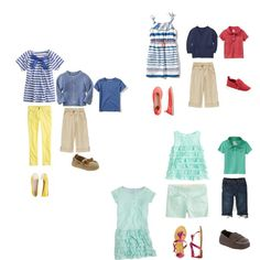 Clothing ideas for photoshoot - a 3 year old girl and 10 month old boy, created by cristina coco photography on Polyvore