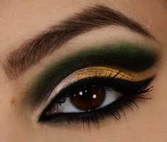 a4b5854acc4 Forest green with gold for brown eyes.  goldgreeneyemakeup Gold Eye