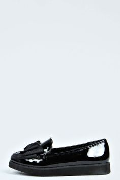 Catherine Patent Bow Detail Chunky Ballet Pumps at boohoo.com
