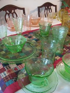 Love how this family uses their depression glass for special meals.  It's a great way to establish a tradition and make family memories.    The pattern is Patrician from Federal Glass.