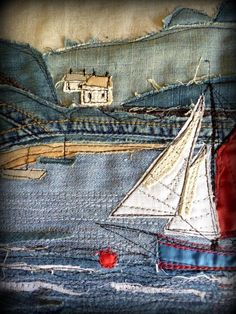 tapiz en patch Applique art work with denim!Kountry Gurls like to reuse old items of clothing to make something new. This quilt of used denim jeans is very distinct and unique.Znalezione obrazy dla zapytania denim-watches-in-the-pocket-of-jeansJeans Artisanats Denim, Denim Art, Textiles, Denim Kunst, Free Motion Embroidery, Hand Embroidery, Freehand Machine Embroidery, Fabric Pictures, Denim Ideas