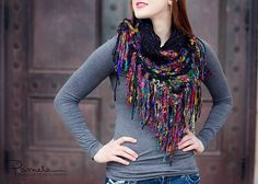 Silk sari yarn #crochet scarf pattern for sale from @jbhcrochet – another great option for this unique yarn!