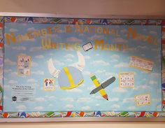 If anyone is wondering what I have been doing for the past three months. I\'ve been creating bulletin boards and teaching children. #librarian #bulletinboard #nanowrimo #zombies #bannedbooksweek #blackoutpoetry