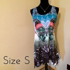 $10 CLOSET CLEAR OUTBeachy dress w butterflies BNWT this is perfect for the beach, cruises, vacations, or just lazy summer days! The flowy dress is made of a light and stretchy fabric. Features a cute lace racer back design. Dresses