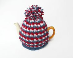 tea cozy hand knitted tea pot cosy orange and cream by TWINKKNITS