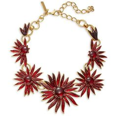 Oscar de la Renta Stone-Accented Floral Statement Necklace ($890) ❤ liked on Polyvore featuring jewelry, necklaces, garnet, statement necklaces, gold colored necklace, oscar de la renta jewelry, floral necklace and stone jewelry