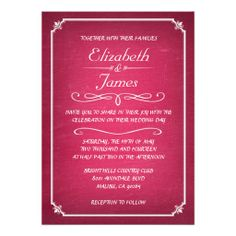 Pink and White Chalkboard Wedding Invitations