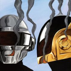 "Mercury Row Daft Punk Graphic Art on Wrapped Canvas Size: 37"" H x 37"" W x 0.75"" D"