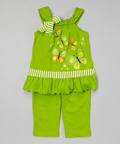 Another great find on #zulily! Lime Butterfly Tunic & Capris - Toddler & Girls #zulilyfinds