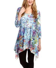 Blue & Purple Swirl Sidetail Tunic - Women
