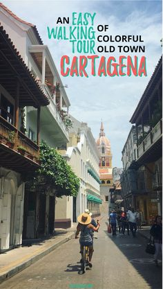 A walking tour route through colorful Old Town Cartagena. Cartagena, Colombia Walking Tour Ideas. via @valerievalise/