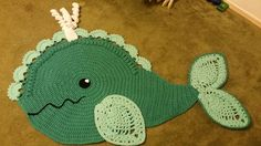 Beautiful whale rug made by Melissa (Loops by Mel) from our newest pattern. What a great idea to combine colors!!!  Pattern from: https://irarott.com/Whale_Rug_Crochet_Pattern.html