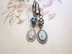 Miraculous Mary Earrings / Vintage Religious Medals /