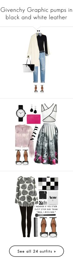 """""""Givenchy Graphic pumps in black and white leather"""" by outfitideasbook ❤ liked on Polyvore featuring Donna Karan, Alice + Olivia, White House Black Market, Givenchy, Lowie, shoes, blackandwhite, blackandwhiteshoes, Chicwish and Zuhair Murad"""