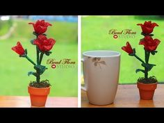 French beaded flowers mini rose pot tutorial and pattern- beginner - YouTube