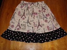 Pink and Black Paris Twirl Ruffle Skirt by ReclaimedbyRhodes, $22.00