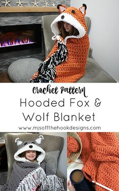Bulky & Quick Fox/Wolf Blanket pattern by MJ's Off The Hook Designs Ravelry: Sperriges & schnelles Fox / Wolf-Deckenmuster von MJ's Off The Hook Designs ✉️ Cute Crochet, Crochet For Kids, Crochet Toys, Crotchet, Knitted Dolls, Quick Crochet Gifts, Crochet Scarfs, Crocheted Hats, Knitted Baby