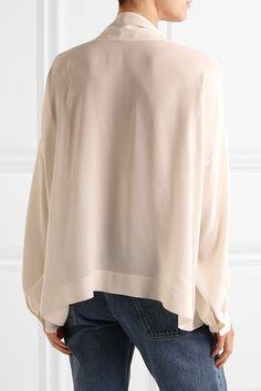 Balenciaga - Silk Pussy-bow Blouse - White - FR