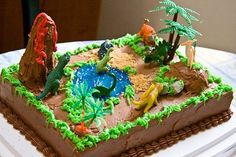 Image detail for -dinosaur theme cake decorated with icing and cake toppers