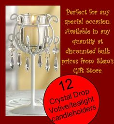 Lot of 12 Candleholders crystal ivory wedding patio garden elegant party decor http://stores.ebay.com/Slems-Gift-Store *OR* order directly from me at dslem3@yahoo.com and receive 20% off any item in the store!