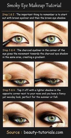 Smokey eye tutorial makeup eye shadow brown.