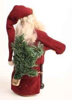 FREE IMAGES OF PRIMITIVE SANTA | Primitive Father Christmas Santa Doll with Tree and Candy Cane ... Christmas Decorations, Christmas Ornaments, Holiday Decor, Pine Christmas Tree, Primitive Santa, Santa Doll, Red Felt, Father Christmas, Candy Cane