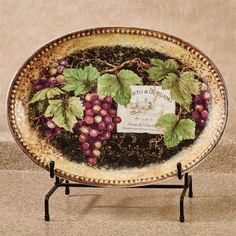 Gilded Wine Grape Themed Oval Serving Platter & I love decorative plates   For the Home   Pinterest   Kitchens Wine ...
