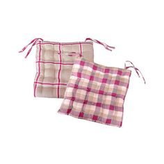"Kaemingk 15"" Pink, White and Beige Plaid Reversible Indoor Chair Cushion with Ties"