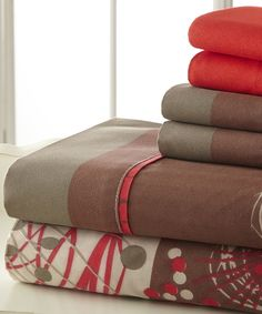 Look what I found on #zulily! Red & Brown Palazzo Home Luxurious Sheet Set by Spirit Linen #zulilyfinds