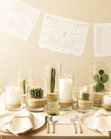All white with cacti centerpieces