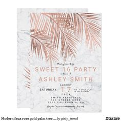 Modern faux rose gold palm tree marble Sweet 16 Card