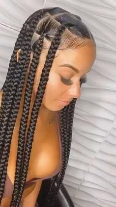 Braided Cornrow Hairstyles, Box Braids Hairstyles For Black Women, Braids Hairstyles Pictures, Black Girl Braids, African Braids Hairstyles, Braids For Black Hair, Cornrows Braids For Black Women, Hairstyles Videos, Hair Ponytail Styles