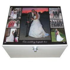 White XL Wedding Memory Box with collage of photos on acrylic on the lid Wedding Memory Box, Wedding Keepsake Boxes, Wedding Keepsakes, Personalized Couple Gifts, Personalised Box, Box Frames, Gifts For Girls, Decoration, Boyfriend Gifts