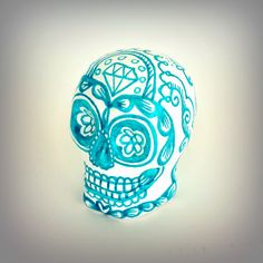 Ceramic Sugar Skull Turquoise Blue and White Hand Painted Tattoos Folk Art Day of the Dead dia de los muertos Halloween art - READY TO SHIP by sewZinski on Etsy https://www.etsy.com/listing/202415375/ceramic-sugar-skull-turquoise-blue-and