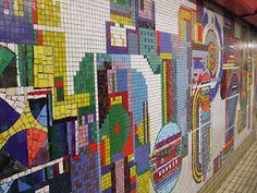 Tottenham_Court_Road_stn_(London) Central_mosaic created by Eduardo Paolozzi in Raymond Roussel, Eduardo Paolozzi, S Alphabet, Puzzle Art, Mind The Gap, Piece Of Music, London Underground, Cultura Pop, Mosaic Art
