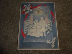 Vintage Greeting Card Christmas GLITTER Victorian Couple Shopping  Holly Snow
