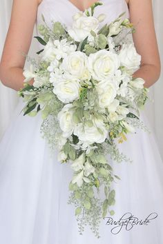 white cascading Davids Bridal Wedding Flowers greenery bouquet bride brides white roses hydrangea stunning classy theme classic unique teardrop