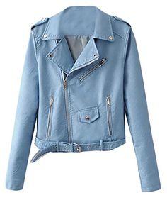 612dfe5b1b6039 Cruiize Womens Belt Faux Leather Solid Moto Biker Dressy Zipper Jacket  Light Blue L Motorcycle Leather