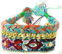 Gypsy Friendship bracelet in turquoise orange and by loveandlucky, $19.99